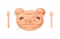 Teddy Babynahrungs-Set, Braun, 3-teilig