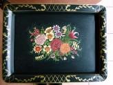 Tabletttisch Vintage mit Blumenmuster- Metal
