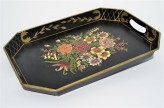 Tablett Rechteckig schwarz aus metal mit Blumenmuster