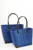 Korbtasche Blau als Set